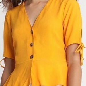 Topshop mustard Bryony front button blouse